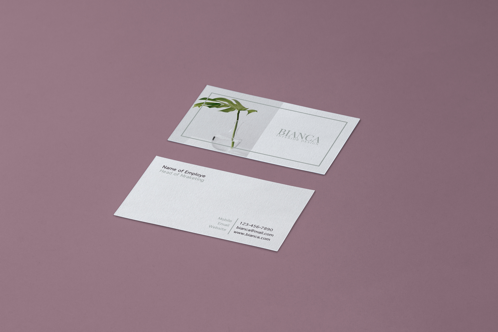 Free business card design for interior designer