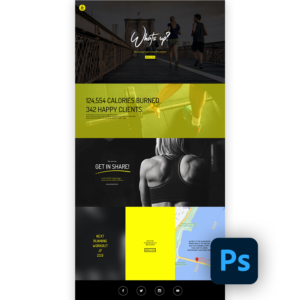 Free fitness website template psd