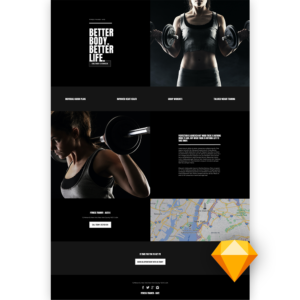 Free workout website template sketch